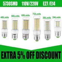 E27 Candle Bulb 110V 220V E14 LED Candle Wax Bulbs 5730 SMD Chandelier Led Bulb Light Lamp Christmas Candle Led Lamp spotlight