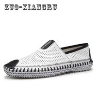 Men Genuine Leather Shoes Slip On Shoes Real Leather Loafers Mens Moccasins Shoes Italian Designer Shoes