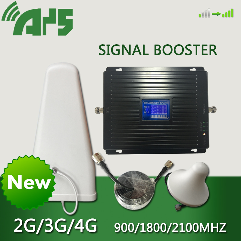 2g 3g 4g Gsm Repeater Cell Phone Signal Booster LTE Cellular Signal Booster 900 1800 2100 Tri Band Mobile Signal Amplifier Black