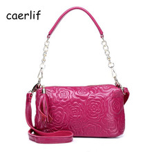 CAERLIF New Fashion Women Messenger bags Chain Shoulder Bag cowhide embossing Fashionable joker Crossbody bag Pure Color