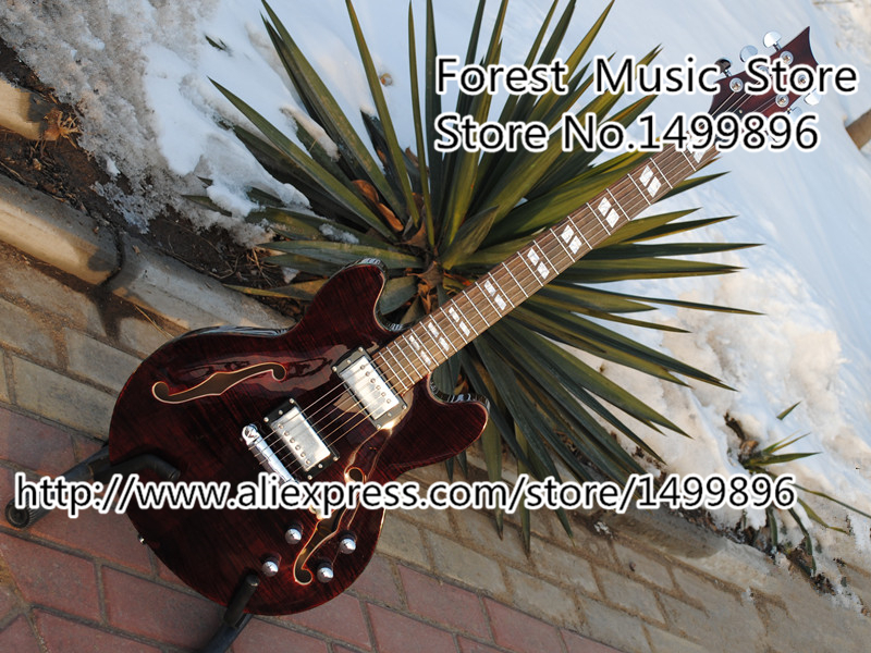 Hot Selling Dark Red Tiger Flame ES Electric Jazz Guitars With Double F Holes Hollow Guitar Body & Kits Lefty Available free shipping semi hollow body aaaaa quilted maple top gold hardware jazz es 335 345 electric guitar guitarra all color accept