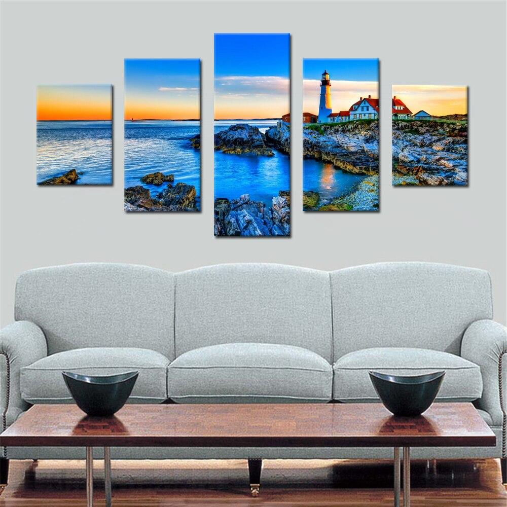 faro en el distancel lienzo conjunto modular de pared cuadros para la sala de arte de