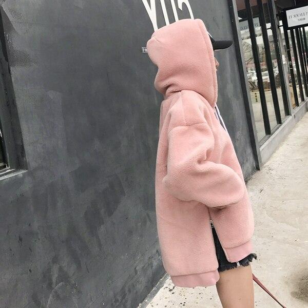 Fourrure Moutons Capuchon Épaissie Mode Longue Manteau De Nouveau marron Dans Rose army Agneau À D'hiver Automne Green Tondus Et La Section nwq87Z6