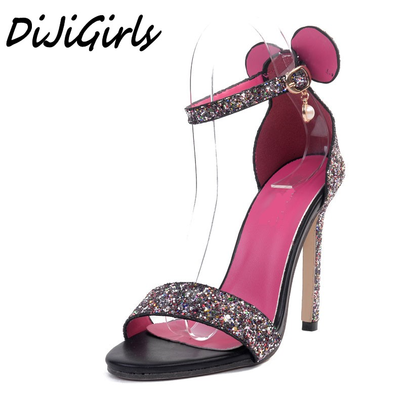 DiJiGirls sexy Women Fashion Cartoon ear sandals high heels shoes woman Bling Buckle Strap shoes sexy ladies Stilettos shoes dijigirls pointed toe sexy new women s high heels transparent buckle mixed colors stilettos sandals ladies pumps woman shoes