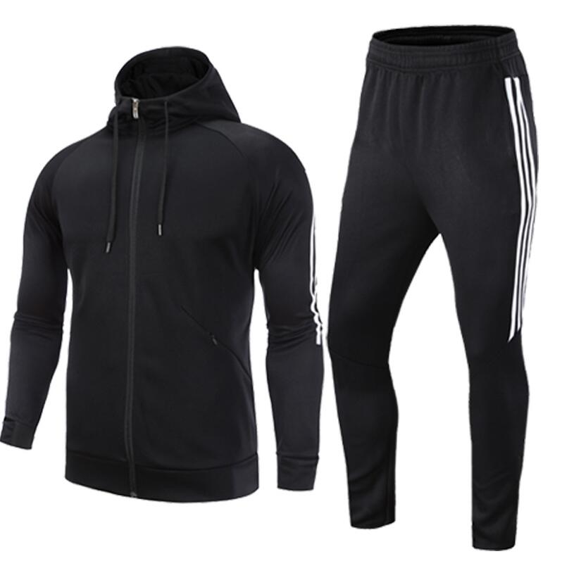 Autumn and winter Fitness suits mens two-piece gym training running long sleeve Hooded Jacket Pants Sets sportswear  Autumn and winter Fitness suits mens two-piece gym training running long sleeve Hooded Jacket Pants Sets sportswear
