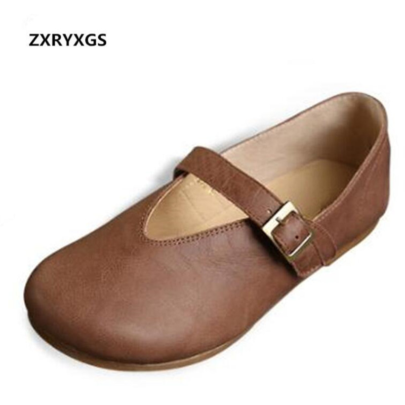 Hot 2018 Spring New Handmade Soft Genuine Leather Shoes Retro Comfortable Women Flat Shoes Non-slip Fashion Shoes Women Flats aiyuqi 2018 spring new genuine leather women shoes plus size 41 42 43 comfortable breathable fashion handmade women s shoes