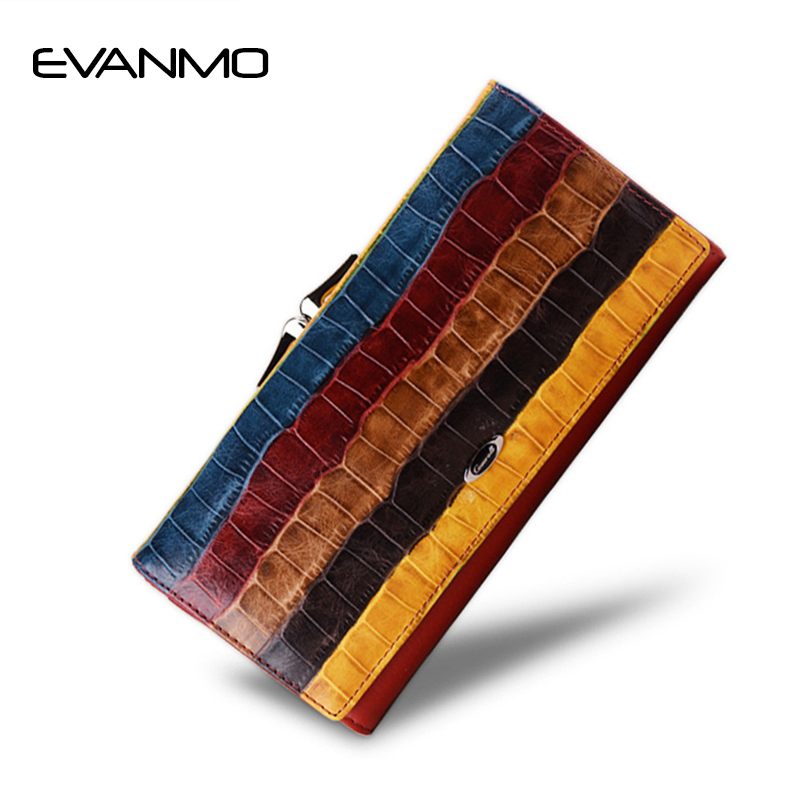 Fashion Leather Women Wallet 2017 New First Layer of Leather Long Style Dollar Bag Famous Brand Lady Wallet Female Purse Cartera new head layer cowhide purse female butterfly skin carving bag long wallet retro handbag leather lady purse