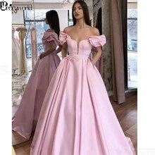 Pink Off Shoulder Muslim Evening Dresses 2020 Satin Prom Gown Dubai Kaftan Saudi Arabic Elegant Formal Dress Robe De Soiree