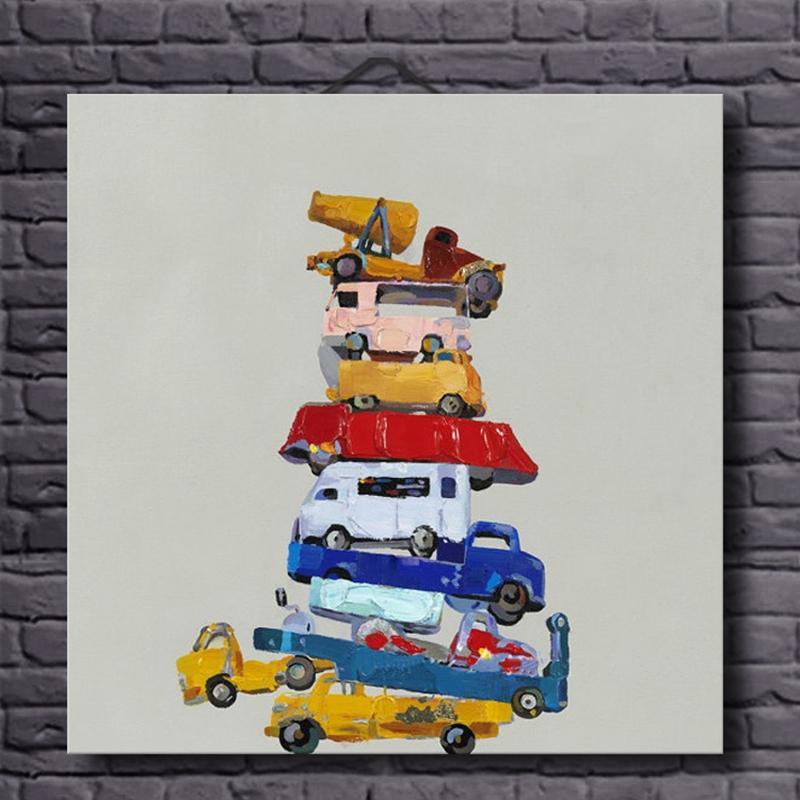 Ručně malované plátno Olejomalby Zátiší Hračky Auta Obrázek Abstrakt Nástěnné umění pro domácí dekorace Moderní Olejomalba Bez rámečku