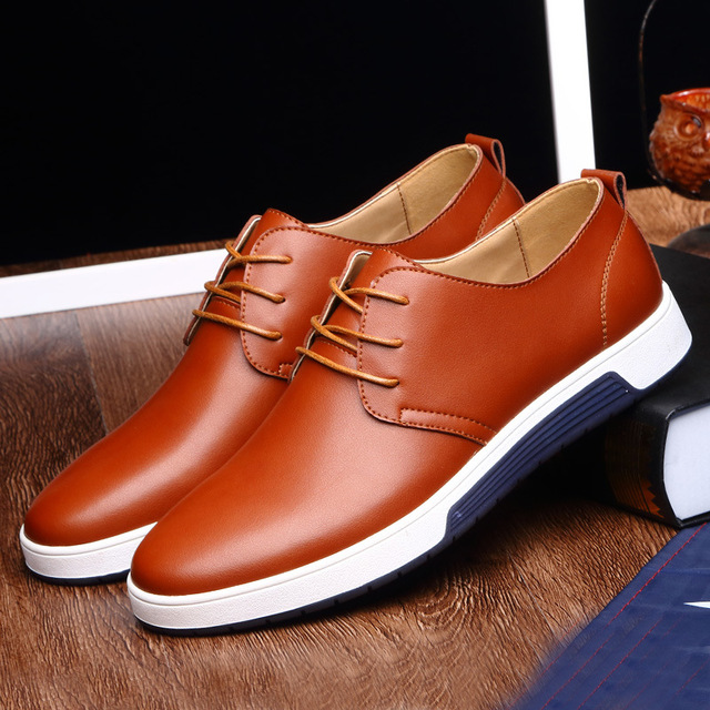 2bd44033f6a US $21.16 39% OFF|Men Work shoes spring 2018 Business shoes fashion  comfortable flat Shoes for men Luxury Leather casual shoes drop Shipping-in  Men's ...