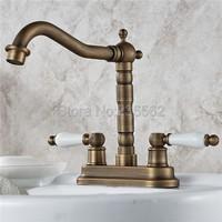 Antique Brass Swivel Spout Bathroom and Kitchen Faucet Dual Ceramic Handle Faucets Washbasin Mixer Vessel Sink Taps lnf427