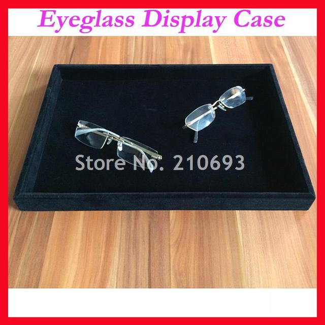1faa2b30675c Free Shipping Black Flat Flannelette Eyeglass Eyewear Watch Jewelry  Sunglasses Display Case Tray Storage Box JB1001