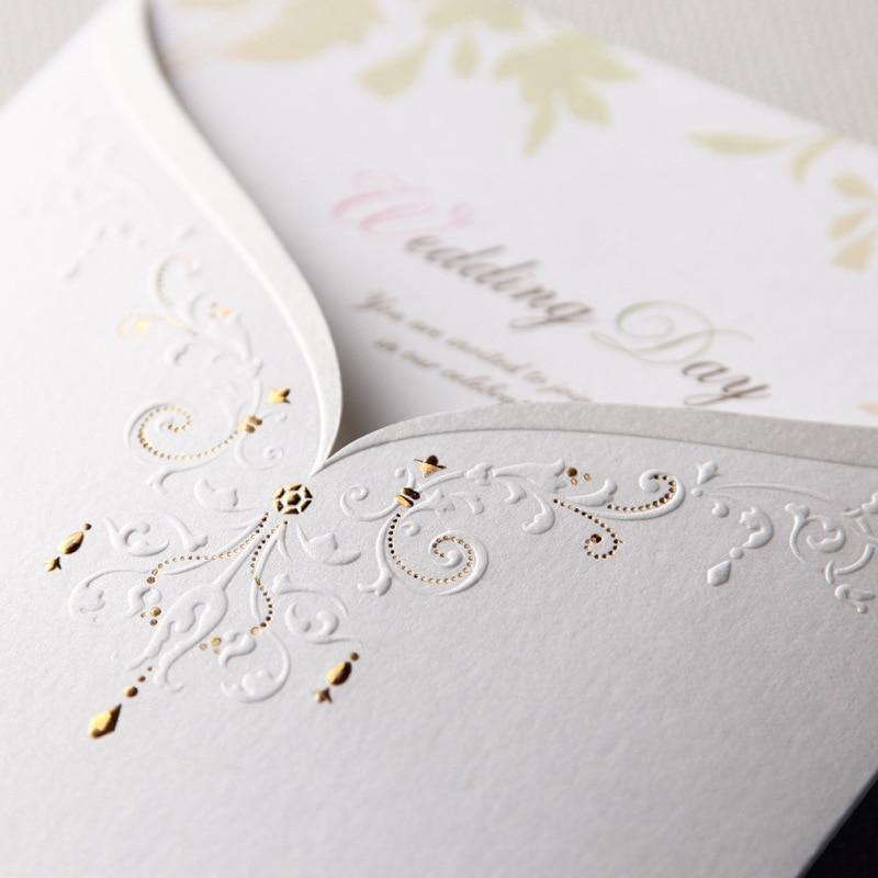 100 Piece Paper Wedding Invitations Bride Groom Blank Marriage Invitation Cards Envelopes White