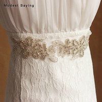 Ivory Delicate Sparkly Crystal Bridal Belts Beaded Wedding Sashes 2018 Flowers Shape Waistband Diamond Belts Wedding Accessories