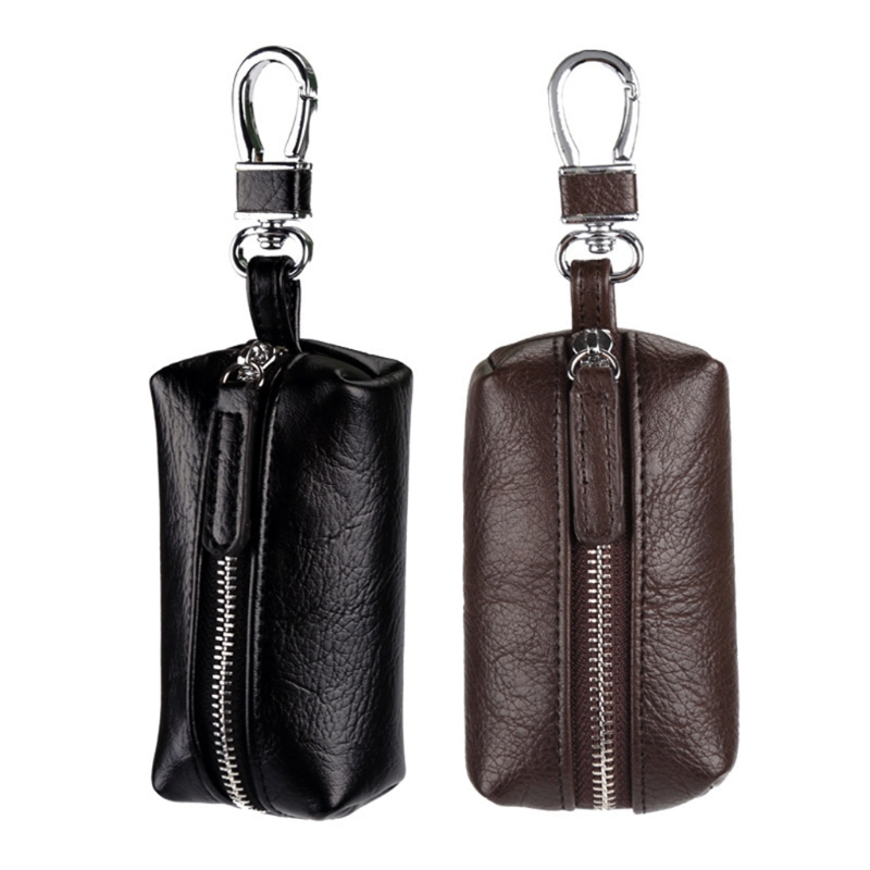 Men Women Leather Car Key Chain Purse Wallet Holder Key Ring Bag Handbag Coin Purse Mini Solid Zip fat fish key wallet coin purse package characteristics of the national wind cloth animal key sets key ring wholesale mixed batch