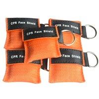 220 pcs/Pack CPR Resuscitator Keychain Mask Key Ring Emergency Rescue Face Shield orange