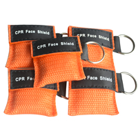 220 pcs/Pack CPR Resuscitator Keychain Mask Key Ring Emergency Rescue Face Shield orange