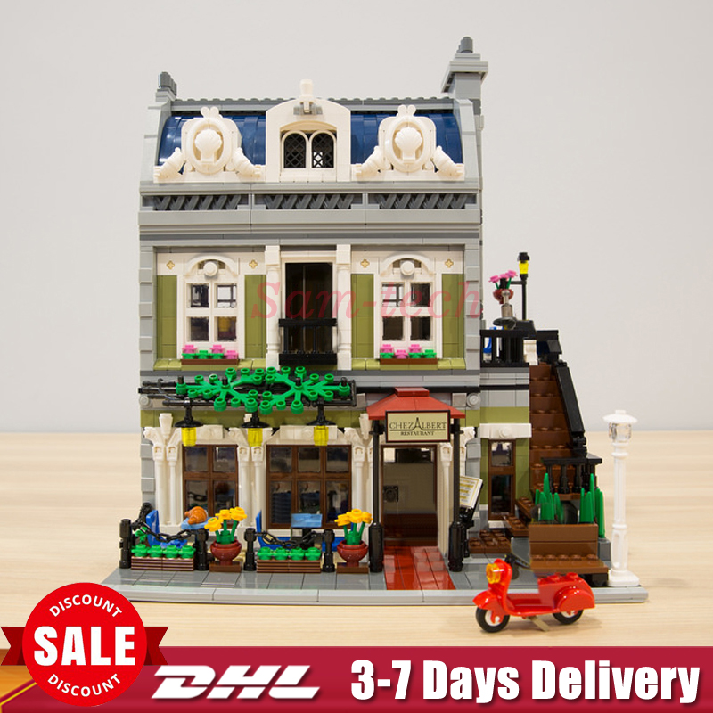 DHL In Stock LEPIN 15010 City Street Parisian Restaurant Model Building Kit Assembling Blocks Bricks Toy 10243 Educational Gift lepin 15009 city street pet shop model building kid blocks bricks assembling toys compatible 10218 educational toy funny gift