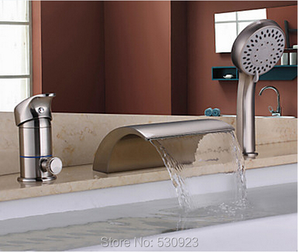New Arrival Solid Brass Bathroom Tub Faucet Set Nickle Brushed Mixer Tap Shower Tap W/ ABS Handheld Shower One Handle Deck Mount new arrival contemporary chrome finish bathroom tub faucet set w abs handheld shower 3pcs mixer tap bathtub faucet deck mounted