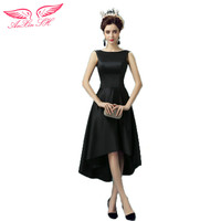 AnXin SH Black Sexy Princess Evening Dress Backless Short Long Before After Dinner Black O Neck