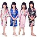 A1686 Satin Pajama Kid / Children Sleepwear Wedding Flower girls Gown High Quality Kimono Robes Peacock Nightgown