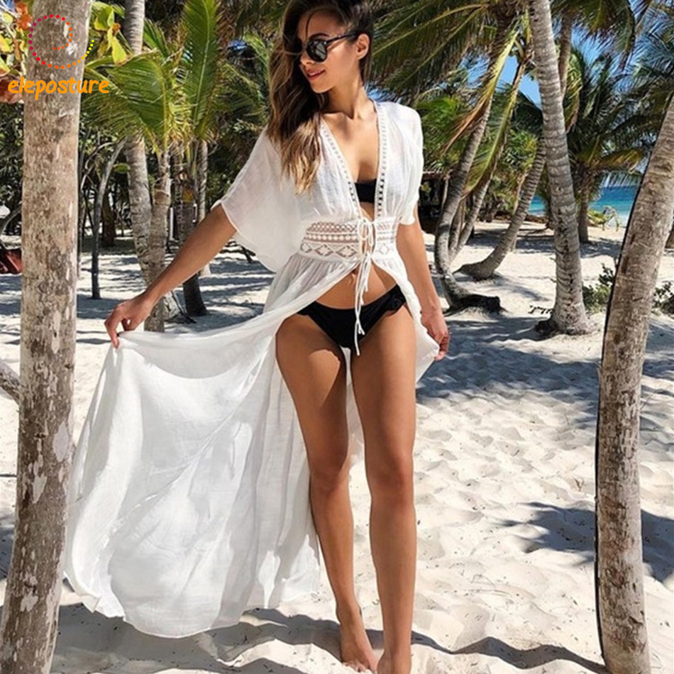2018 Beach Cover Up Sexy Bikini Cover Up Long Beach Dress Tunics Bathing Suits Swimwear Women Cover-Ups Beachwear Robe De Plage