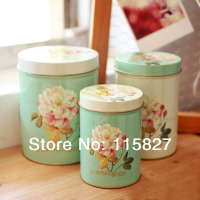Free Shipping 3pcs Lot Europea Style Rose Design Cookie Creative Storage Case Tin Box Set Metal