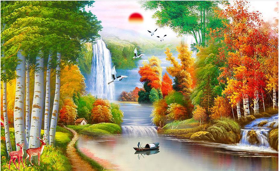 cabina de pintura al leo d murales de papel tapiz paisaje home decor fotos murales