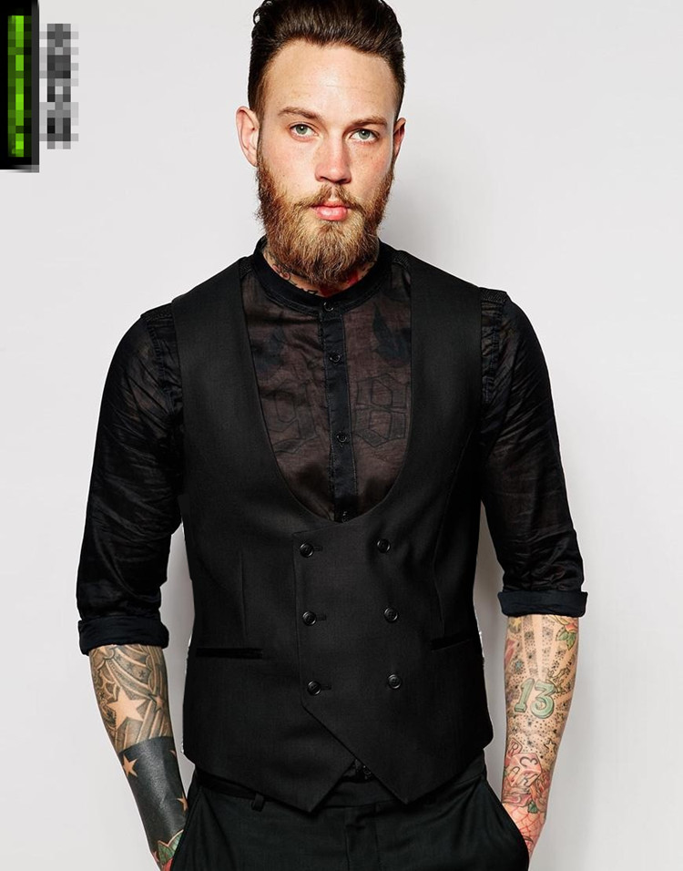 Black Double Breasted Waistcoat Grey Ivory Slim Fit Standard size Stock Male Vest for men