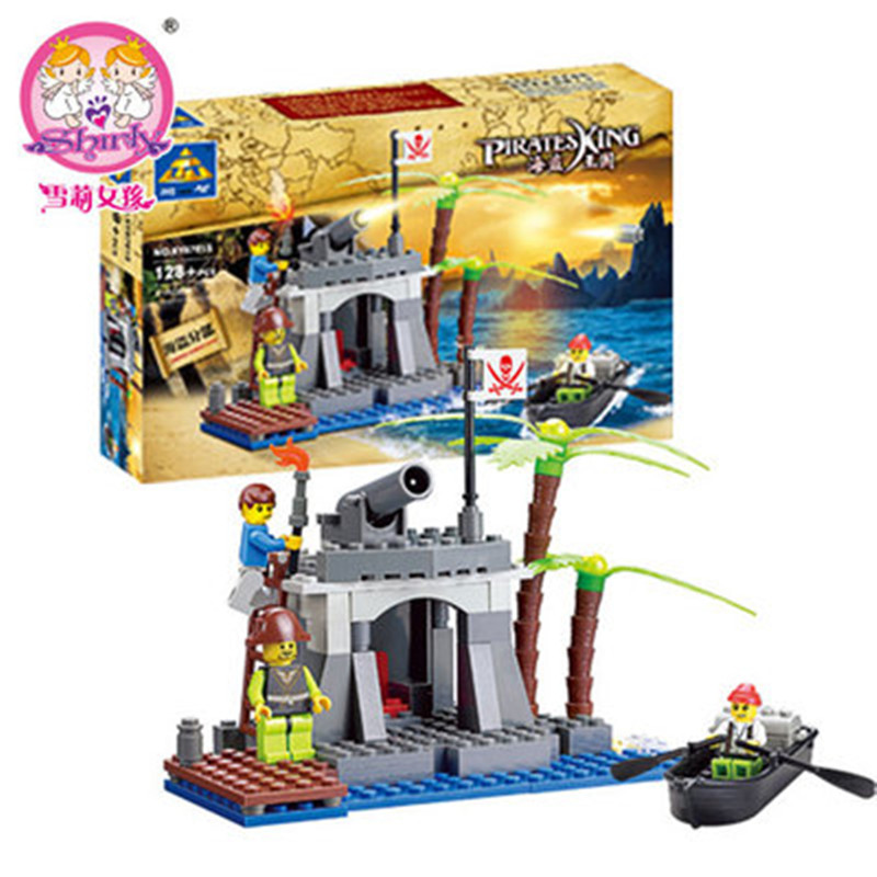 New KAZI 87013 Pirate Ship Pirates headquarters Building Blocks Bricks Educational Toys Birthday Gift for kids Brinquedos kazi black pearl caribbean pirates ship building blocks sets bricks christmas birthday gifts diy toys for children