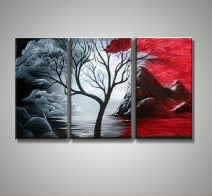 100% hand painted oil painting 3 in 1 Modern Home Decor Abstract ...