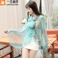 11 11 Colorful Pretty Butterfly And Floral Print Real Sheer Silk Shawl And Scarves For Women