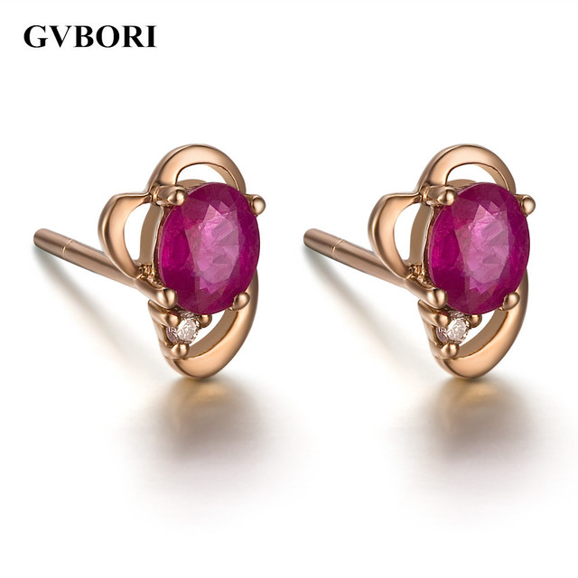 Gvbori Ruby Gemstone 18k Rose Gold Stud Earrings For Women Fine Jewelry Wedding Engagement
