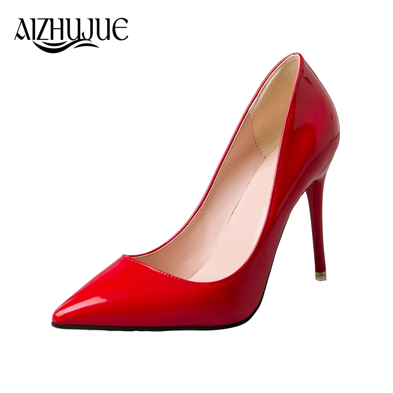 AIZHUJUE 2018 New Fashion high heels women pumps thin heel classic white red pink black beige sexy prom wedding shoes garda decor тумба прикроватная зеркальная