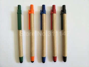 Natural paper barrel ECO ballpoint pen with stylus, touch screen recycled pen 1000 pcs stylus tip pen