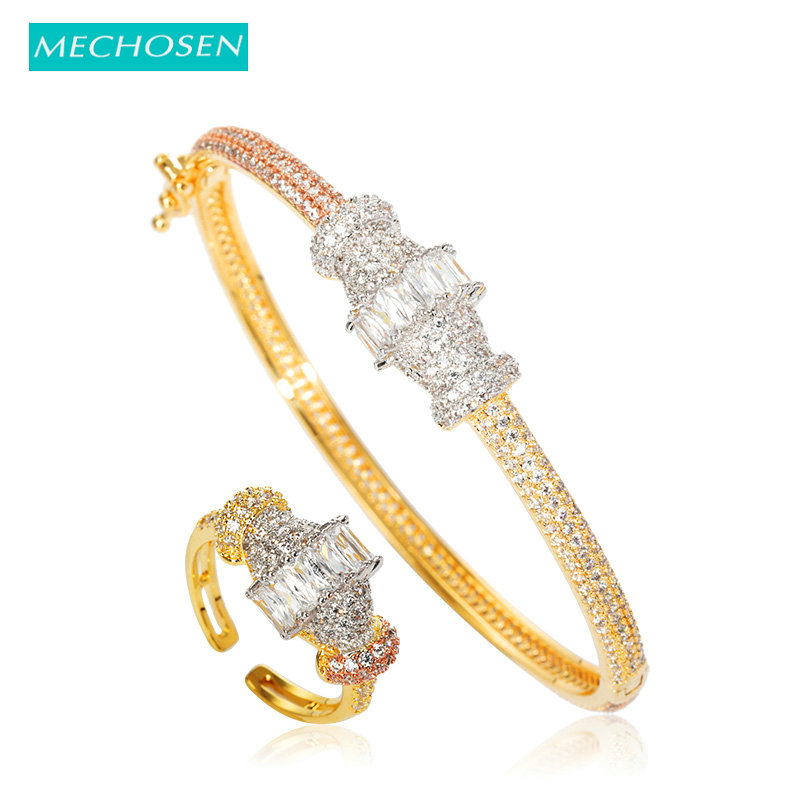 MECHOSEN Fashion African Gold Color Bangle Ring Jewelry Set Nigeria AAA Zircon Copper Wedding Banquet Women's Accessories Gifts