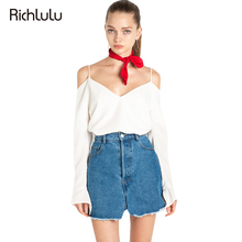 RichLuLu Apparel Sexy V-neck Women Tops White Cami Strap Long Sleeve T-shirt Loose Casual Elegant Cold Shoulder Backless Tees