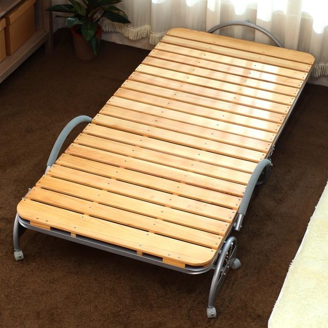 ריהוט לחדר שינה מודרני מיטה מתקפל ניידת עם פסיס עץ מתקפל מיטת אורח למבוגרים ולילדים מתכת מתקפל מיטת יחיד
