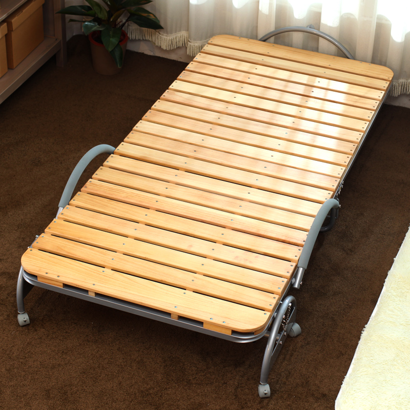 Modern Portable Folding Bed with Wood Slat Bedroom ...