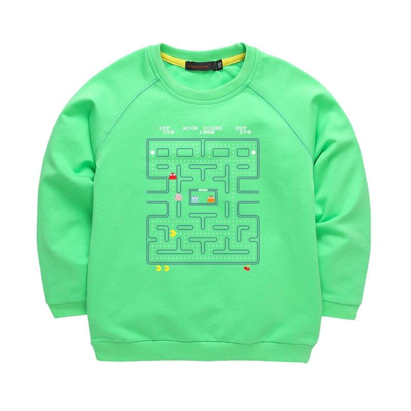 Pacman Autumn and Winter Boys Girls New Fashion Print Pattern Hoodies Long T Shirts Kids Casual