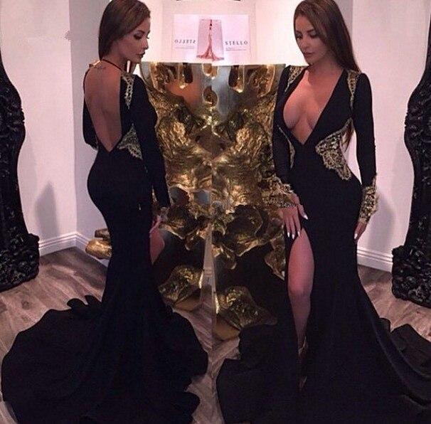 0f59c2394f V Neck Lace Appliques Black Prom Dresses 2017 Long Sleeve Mermaid Vestidos  De Madrina Split Zipper-Up Court Train Evening Dress