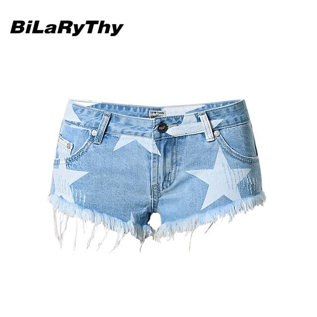 BiLaRyThy Summer Beach Style Women's Slim Short Jeans Star Printing Tassel Sexy Low Waist Denim Shorts