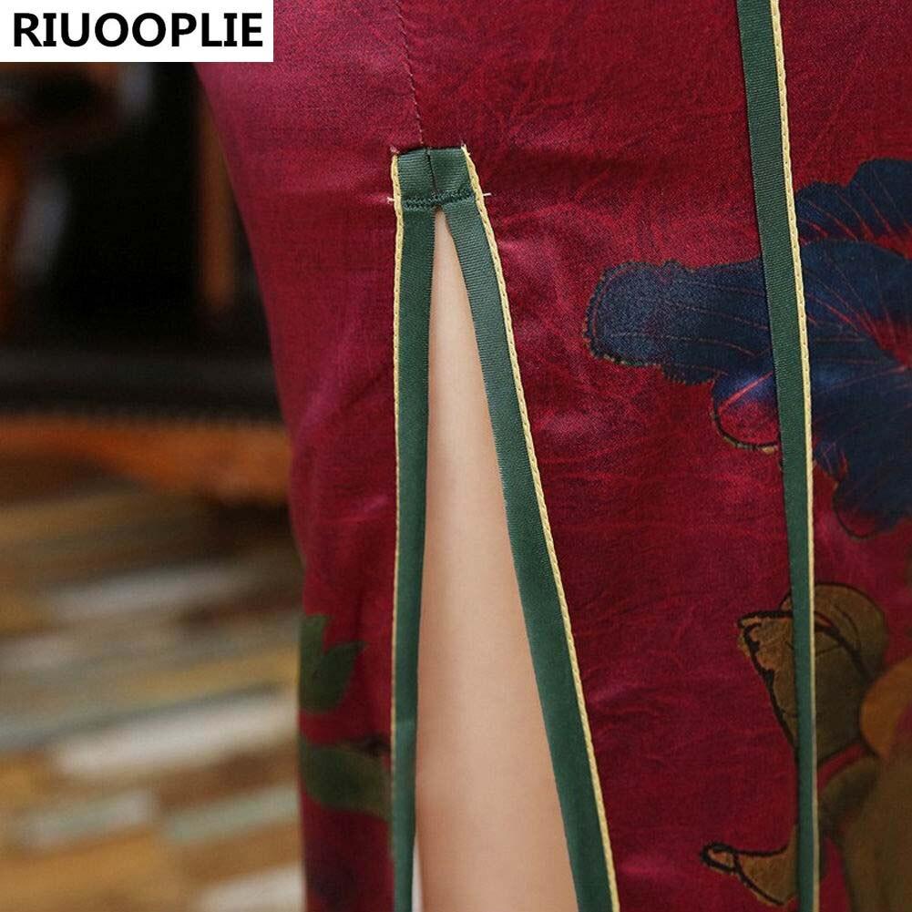 RIUOOPLIE Kinesisk Traditionell Klänning Mode Design Lång Cheongsam - Nationella kläder - Foto 5