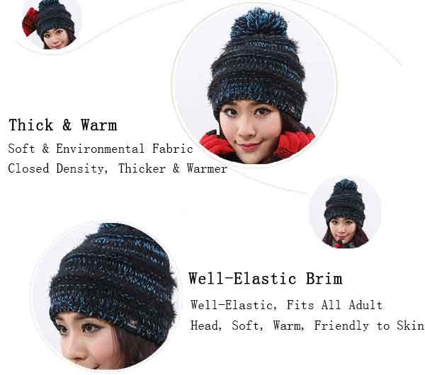 Women\'s Faux Fur Pom Pom Fleece Lined Knitted Slouchy Beanie Hat (11)