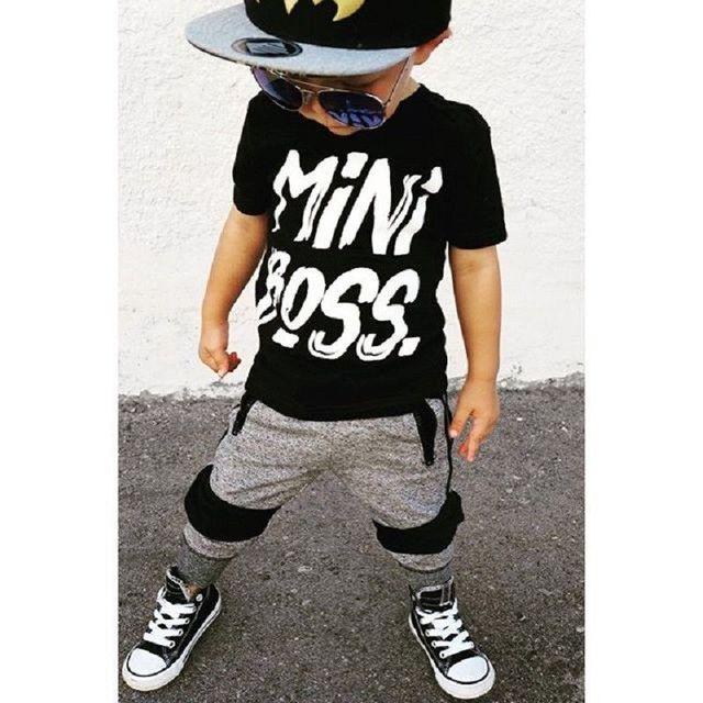 2 peças de Roupa Do Menino Da Criança de manga Curta Mini Chefe Imprimir Camiseta Top e Calça Set Crianças Equipamento Do Bebê Menino