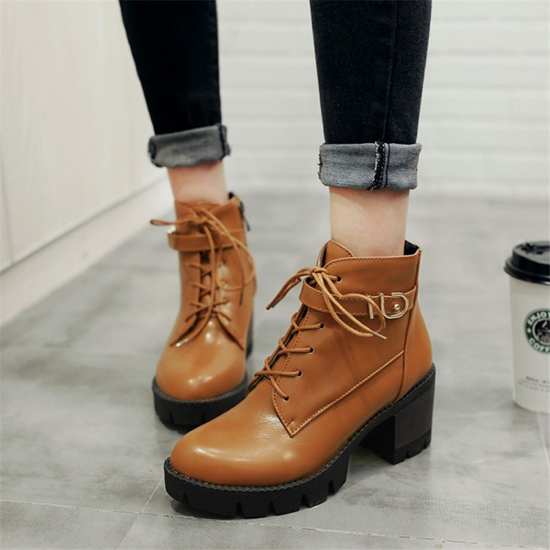 Fashion Women Ankle Boot Square High Heels Short Boots Autumn Winter Boots Shoes Woman Zip Lace-Up Martin Boots Plus Size 34-43 2015 winter autum women boots size 35 43 softs high heels fashion quality motorcycle shoes woman leather ankle boot s 67