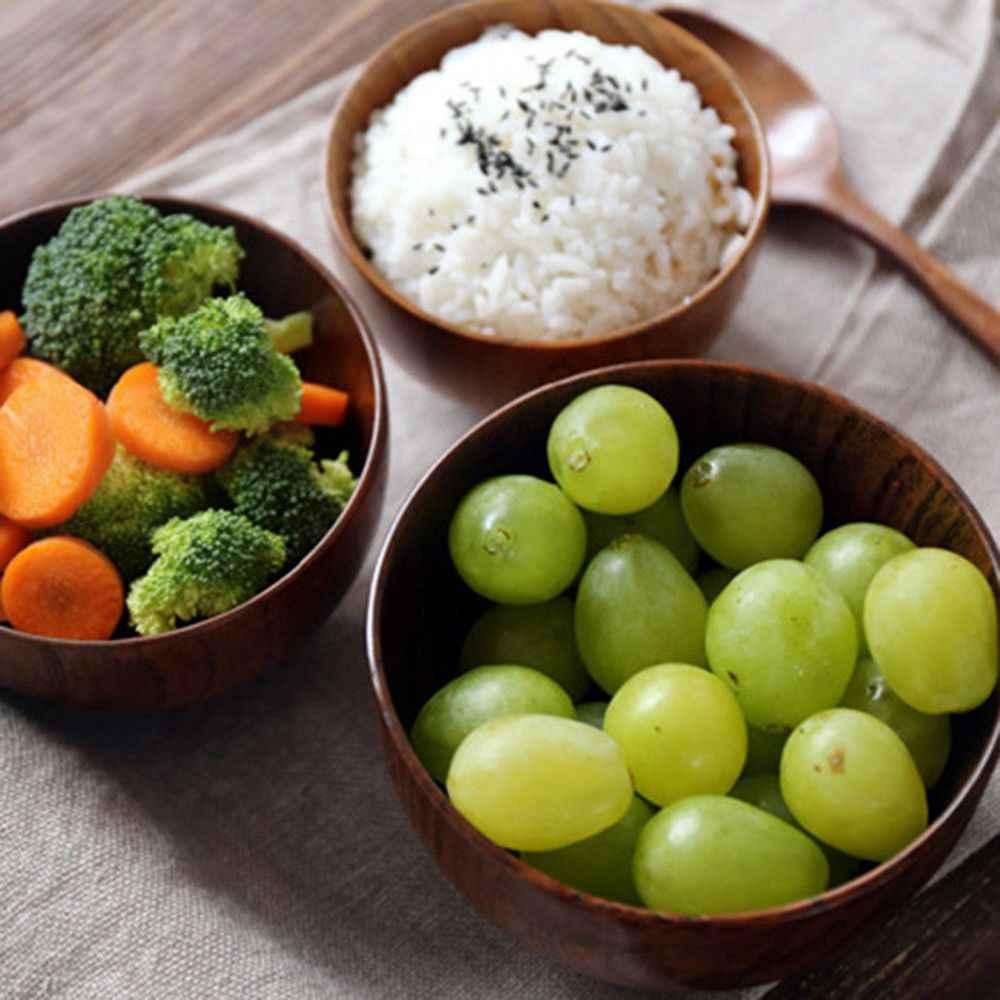 1 個和風木製ボウルスープ/サラダライスボウル天然木の食器ボウルエコフレンドリーアイスクリームボウルクリエイティブフルーツ