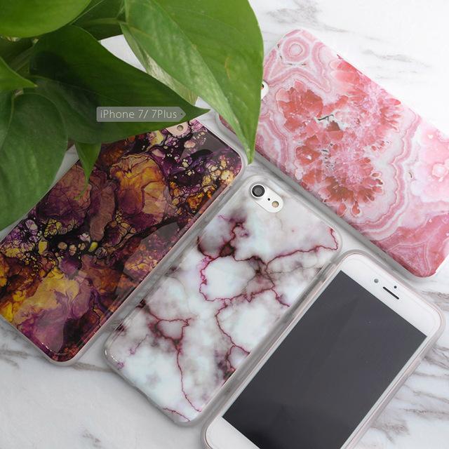 SoCouple Pour iphone 5S 5 SE 6 6 s 6/7 plus Fleur De Granit gommage Marbre Pierre image En Silicone Peint Cas de Téléphone Pour iphone 7 cas