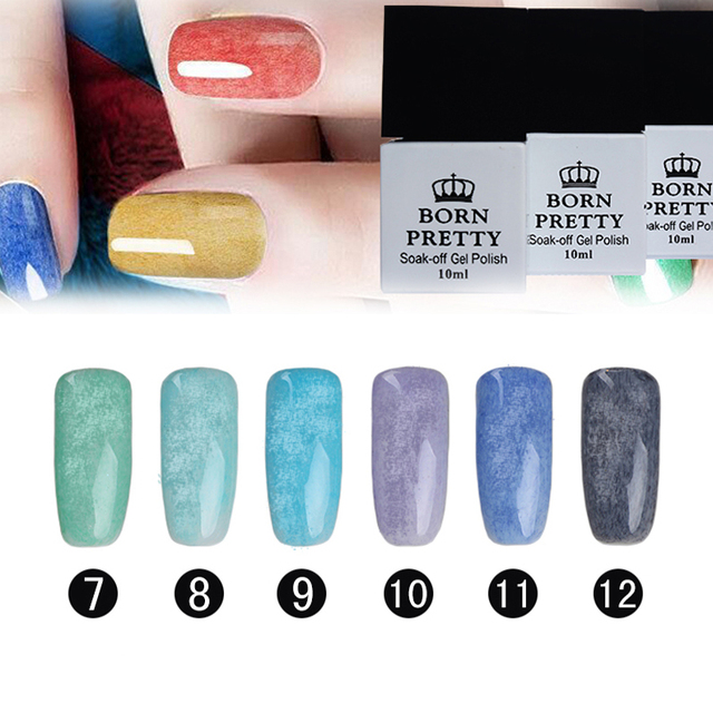 6 Colors/set 10ml BORN PRETTY Fur Effect Soak Off Nail Art UV Gel Polish Manicure 7-12