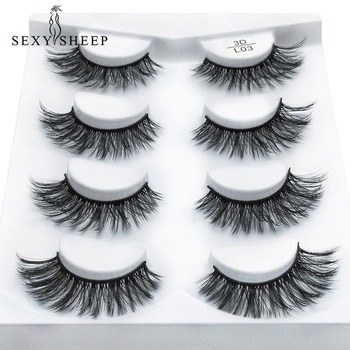 SEXYSHEEP 4 pairs natural false eyelashes fake lashes long makeup 3d mink lashes eyelash extension mink eyelashes for beauty